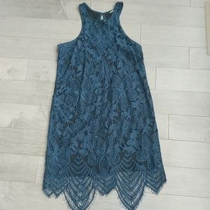Express blue lace dress